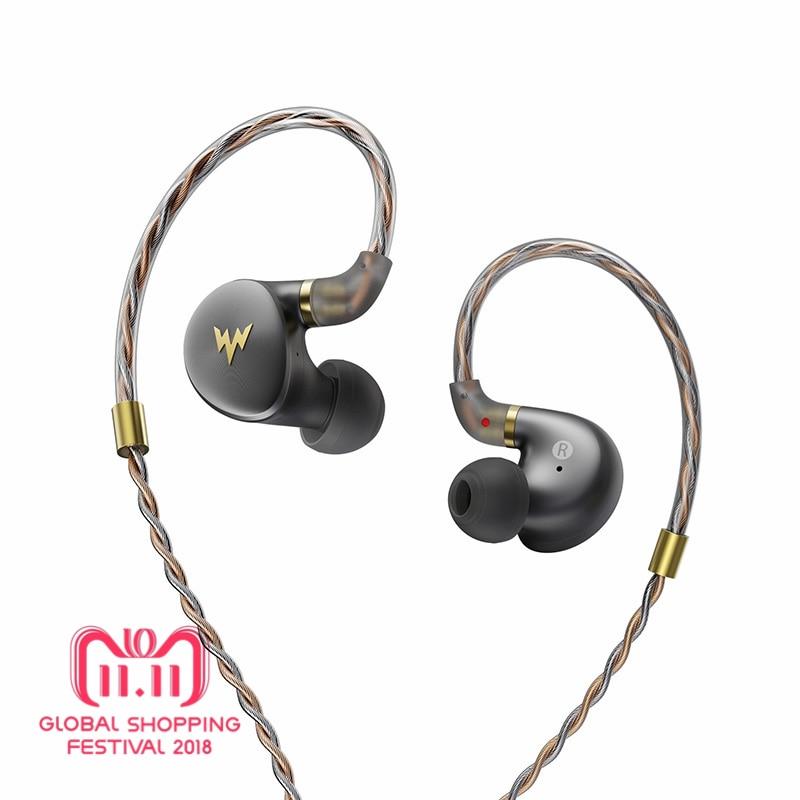 Whizzer A-HE03 Juteux Basse Écouteurs HiFi Salut-Res Casques Hybride 2 Knowles Armature Clair Son Chaud Métal Dans L'oreille écouteurs