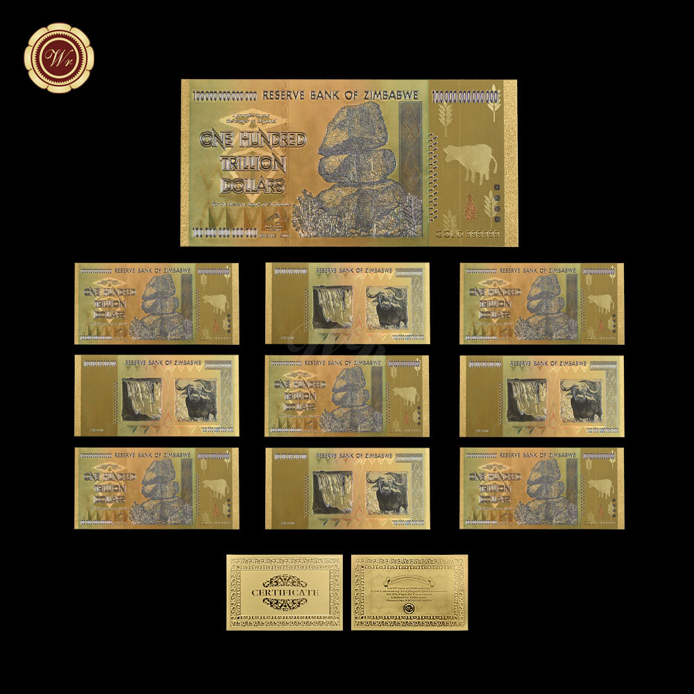 WR Gold Banknote Colorful Zimbabwe 100 Trillion Dollar Copy Money with Cerfiticate Card for Gifts