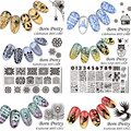 6Pcs/set BORN PRETTY 12*6cm Rectangle Nail Stamping Template Manicure Nail Art Image Plate BPX-L007~012