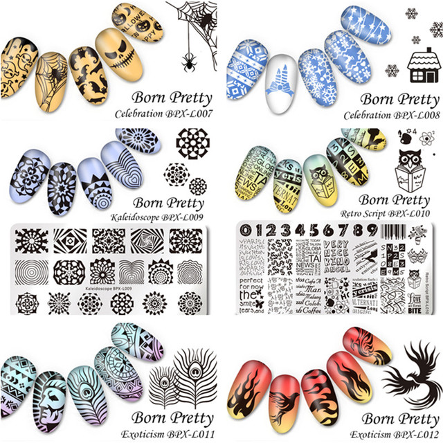 6Pcs/set BORN PRETTY 12*6cm Rectangle Nail Stamping Template Manicure Nail Art Image Plate BPX-L007~012