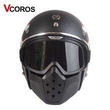 VCOROS vintage Staccabile Occhiali E la Bocca Filtro retro maschera maschera di Metà del Open Viso Caschi Da Moto maschere Da Sci Skate cosplay occhiali