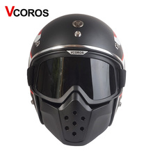 VCOROS vintage Detachable Goggles And Mouth Filter retro mask Half Open Face Motorcycle Hel