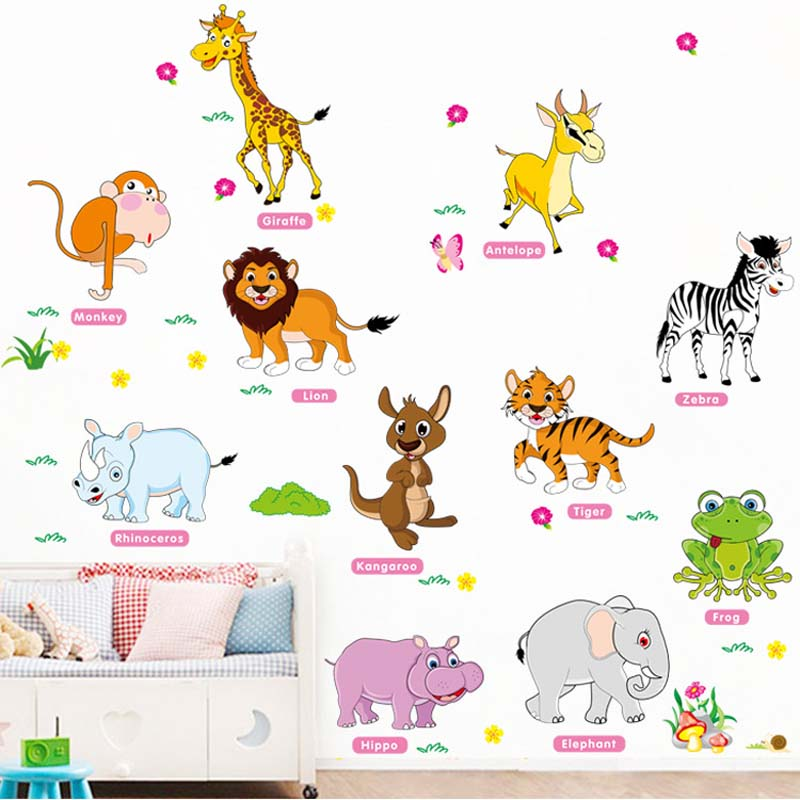 Cartoon Animals Wall Sticker For Kids Rooms Poster Kids 3D Wall Stickers Wallpaper Stickers Vinilo Decorativo Para Pared Diy