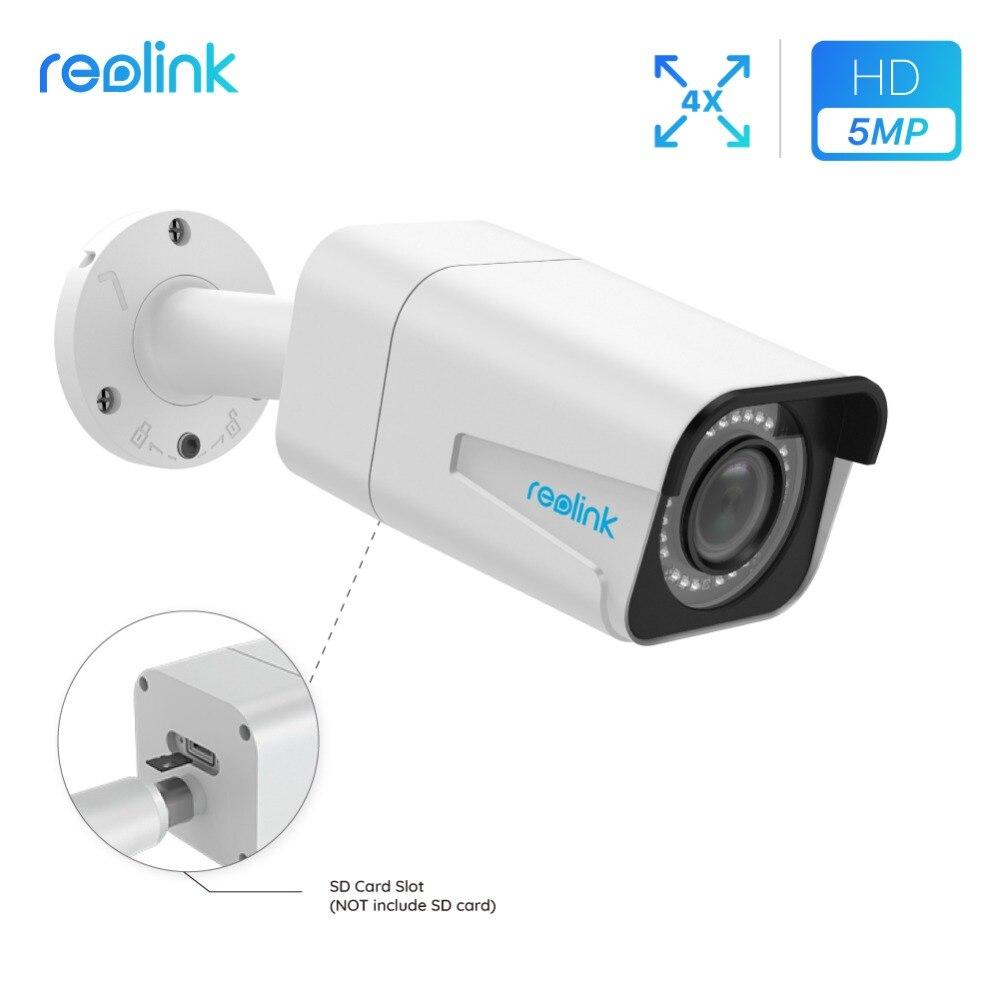 Reolink PoE IP Caméra extérieure 5MP 4x Zoom Optique SD fente pour carte IP66 Étanche Onvif Infrarouge Bullet caméra de Sécurité RLC-511