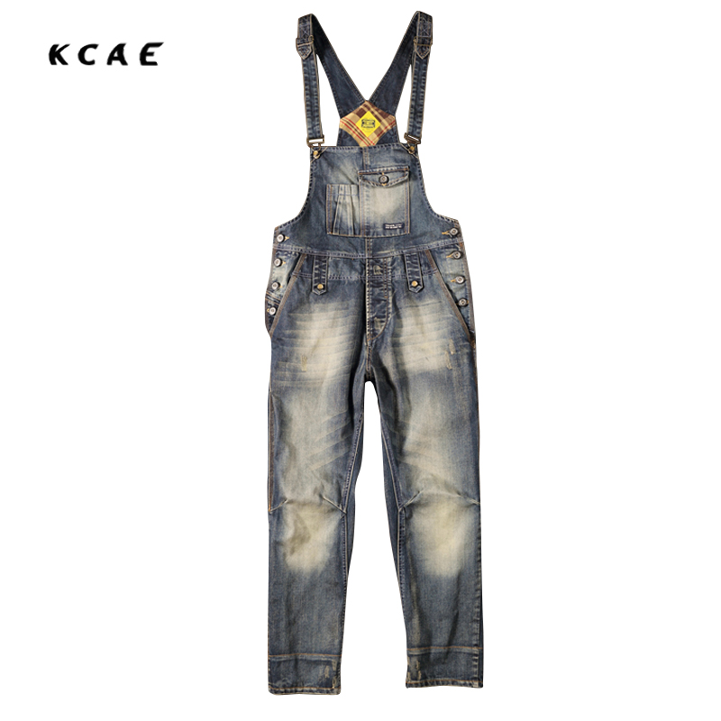 2017 New High Quality New Men's Fashion Pocket Denim Overalls For Boys Male Casual Loose Jumpsuits  Jeans Bib Pants
