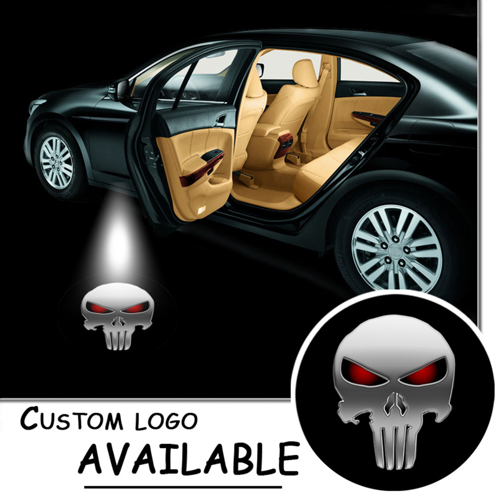 2x PUNISHER Skull Logo Led Badge Gobo Light Car Door Welcome LED Projector Laser Ghost Shadow Lamp For CADILLAC FORD #2208 2 x newest led car door light ghost shadow light welcome laser projector logo for fiat panda doblo ducato bravo stilo 500 punto