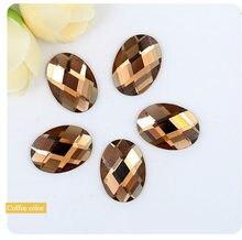 Gafas ovaladas de color marrón, diamantes de imitación con parte trasera plana, 6x8,8x10 x, 10x14,13x18,18x25, accesorios para manicura y prendas de vestir, Envío Gratis
