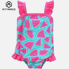 Attraco Baby Girl One Piece Swimsuits Watermelon Fruit Printed Swimwear Ruffle Kids Cute Bikini Beach Wear Childrens One-Piece
