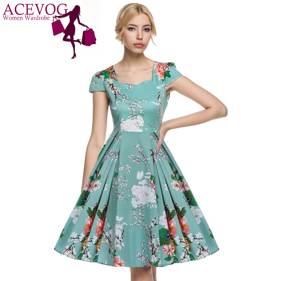 aliexpresscom buy acevog 2017 vestidos 1950s vintage style women elegant cap sleeve floral spring garden party picnic cocktail swing tea dress from - Garden Party Dress