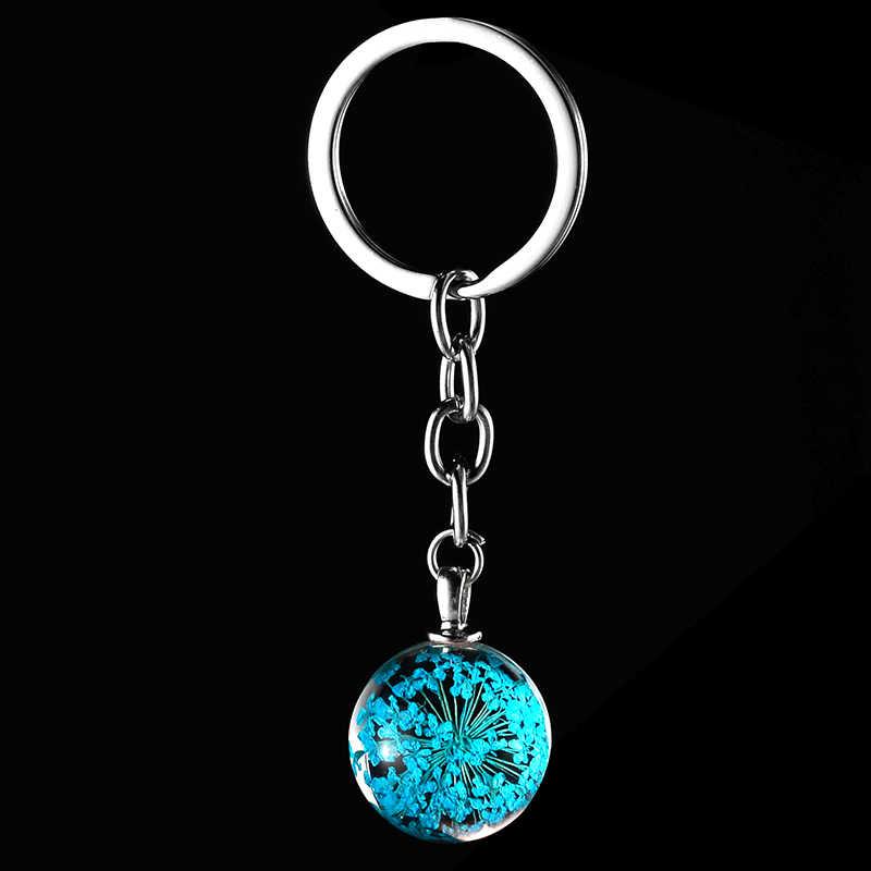 TAFREE na moda boho estilo Real Seco Flores Secas bola de vidro de cristal pingente de carro saco de chaveiro para mulheres dos homens jóias chave cadeia GH26