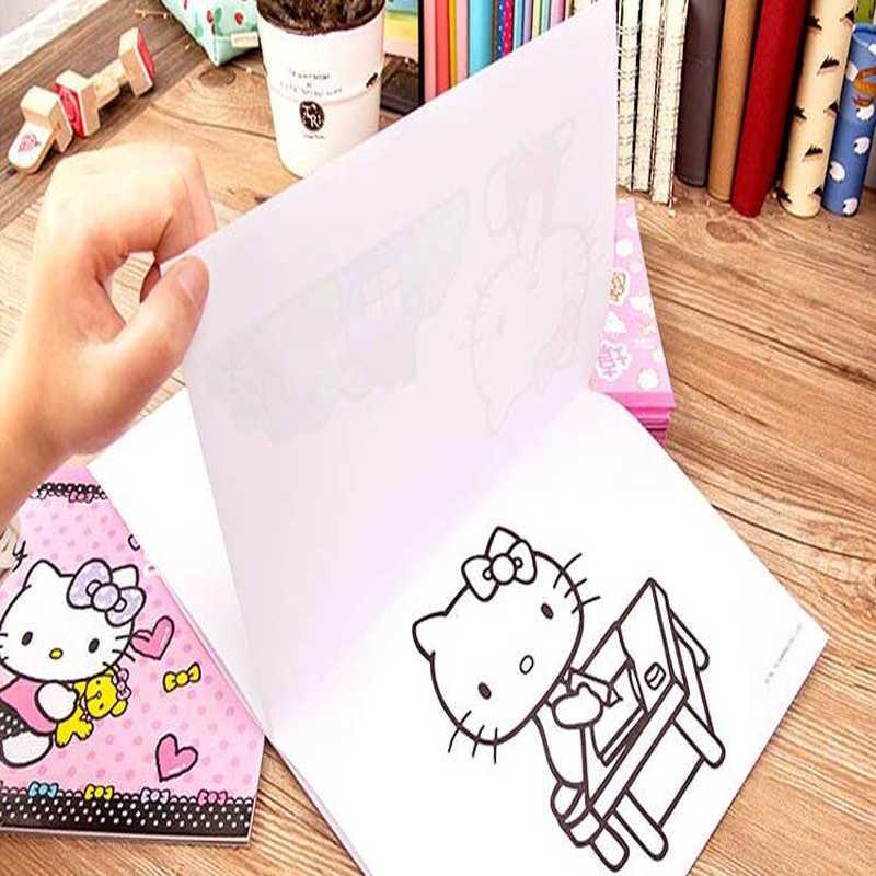 Новинка, милый рисунок Hello Kitty, бумага для раскрашивания детей,  Канцелярские и школьные принадлежности, подарок, изображение граффити,  книга Бумага для рисования    АлиЭкспресс