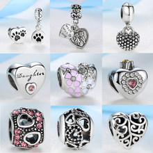 New Silver Plated Bead Charm European Hollow Flower Love Heart Pendant Beads Fit Women Pandora Bracelet & Bangle DIY Jewelry(China)