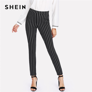 SHEIN Dikey Çizgili dar pantolon Kadın Elastik Bel Cep OL Tarzı Iş Pantolon 2018 Bahar Orta Bel Uzun kalem pantolon