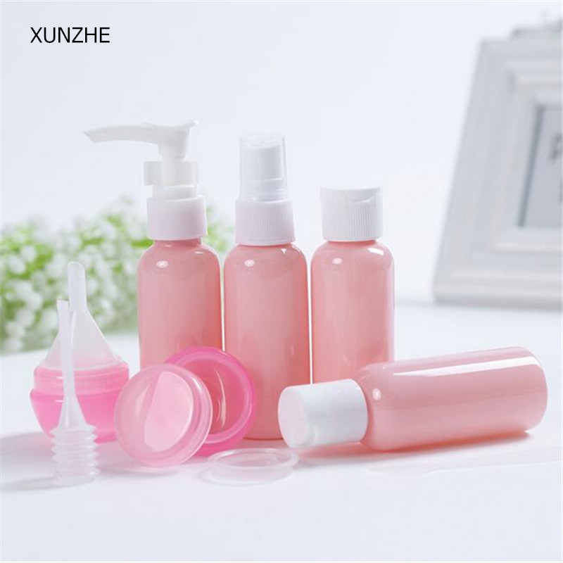 XUNZHE portable pink plastic material travel 9pcs/sets