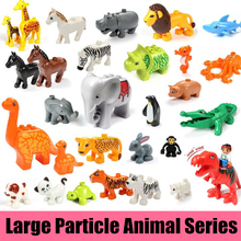 Купить с кэшбэком 20Pcs/set Duplo Animal Series Large Particle Building Blocks Zoo Set Kids Toys DIY Brick Compatible With lego Duplo