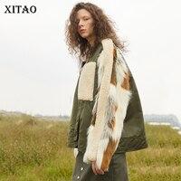 [Xitao] 2018 осень Европа Мода Новый Для женщин Стенд воротник длинный рукав пальто Лоскутная бинты карман куртки LJT4378