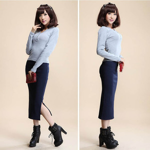 Image 5 - 2016 Autumn Winter Women Skirt Wool Rib Knit Long Skirt Faldas Package Hip Split Skirts  D919