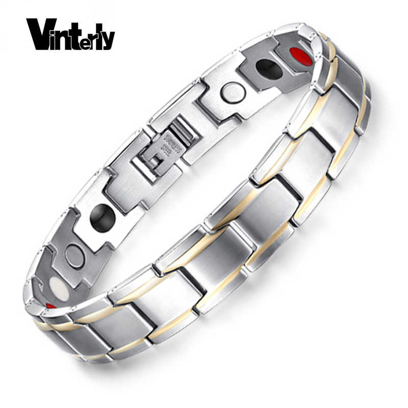 Vinterly Men's Hand Chain Gold-color Bracelet Healing Energy Stainless Steel Germanium Magnetic Bracelets Bangle for Men Jewelry