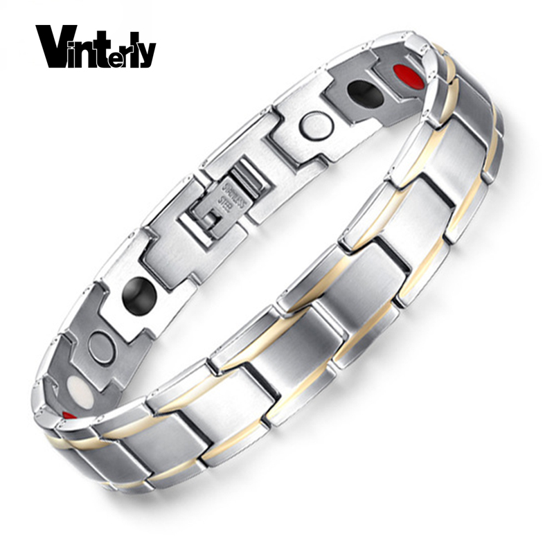 Vinterly Mens Hand Chain Gold-color Bracelet Healing Energy Stainless Steel Germanium Magnetic Bracelets Bangle for Men JewelryVinterly Mens Hand Chain Gold-color Bracelet Healing Energy Stainless Steel Germanium Magnetic Bracelets Bangle for Men Jewelry