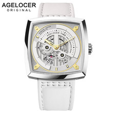 Swiss Brand AGELOCER Ladies Mechanical Watch Women Wristwatches Skeleton Square Watches Leather Strap Gift +BOX 5609A10
