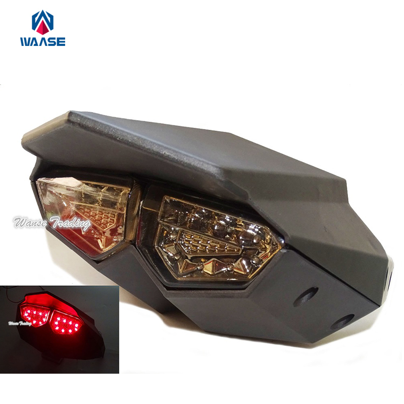 Black R6 Style Integrated Led Taillight Tail Brake Turn Signal Light Smoke For 2009-2015 YAMAHA Zuma BWS X BWSX X-Over 125 YW125
