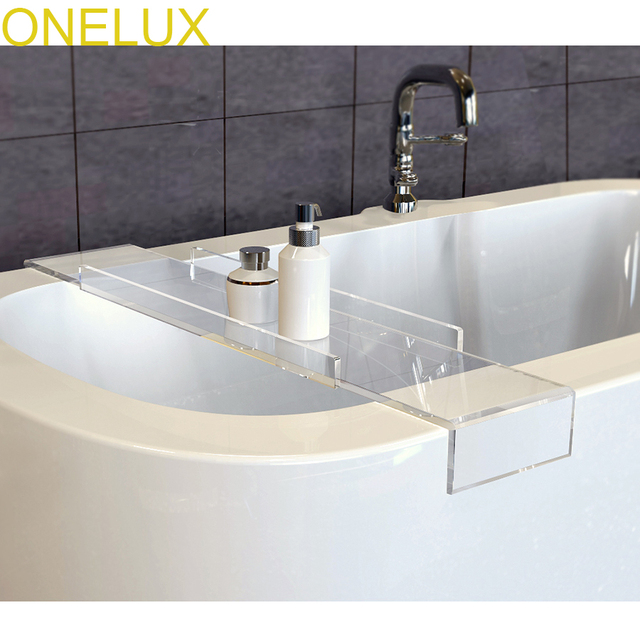 Buy 2PCSLOT Durable Thick Clear Acrylic Bathtub Tray CaddyLucite Storage