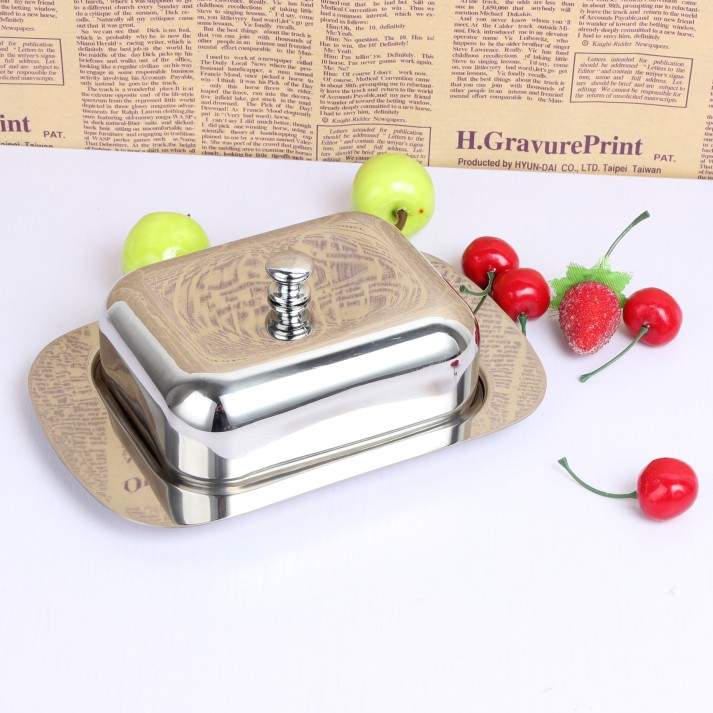 Thick 304 stainless steel butter dish With cover Butter Cookie Box Dessert dish care Fruit salad