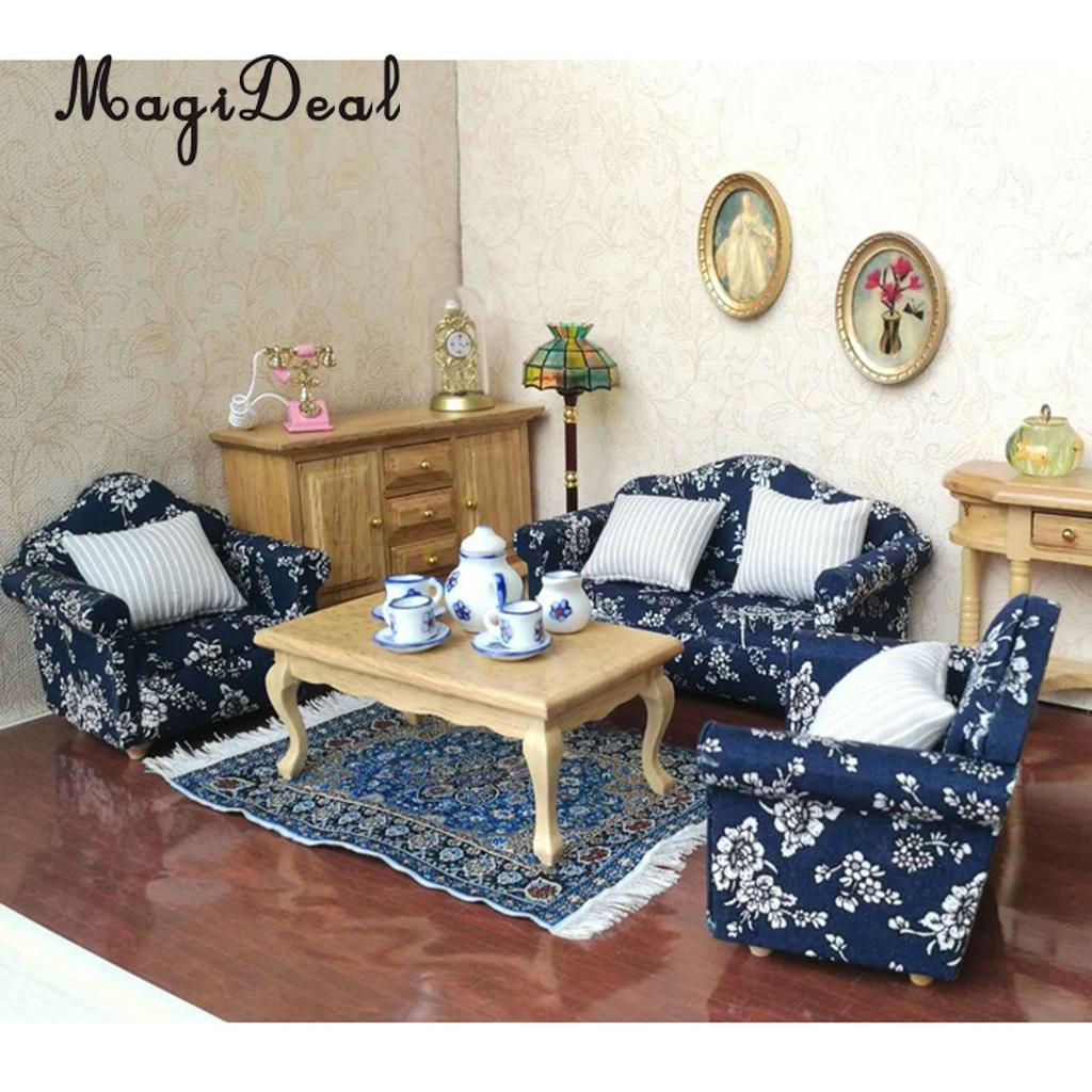 7 Pieces Wooden Floral Sofa Cushions Kit For 1/12 Scale Dolls House Miniature Furniture Decoration Kids Child Pretend Play Toys