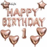 Chicinlife 1セット幸せな誕生日バルーンハートスターバルーン子供大人30th誕生日パーティーの装飾ベビーシャワーの好