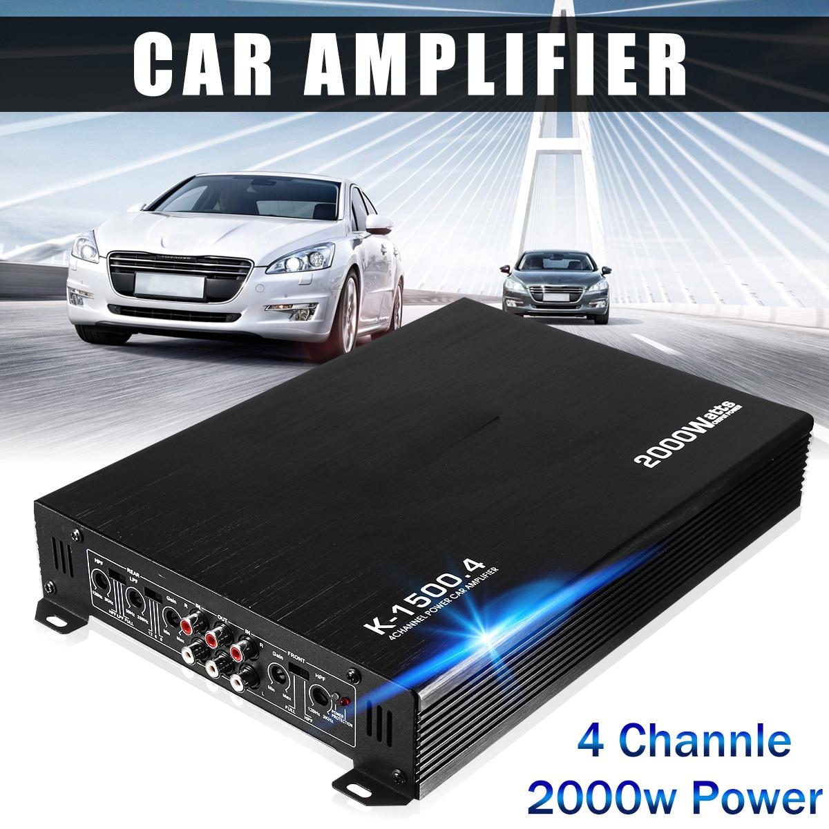 2000 Вт 4-канальный автомобильный усилитель Динамик автомобиля Авто аудио усилитель Мощность стерео усилитель Авто Аудио Мощность усилитель ...