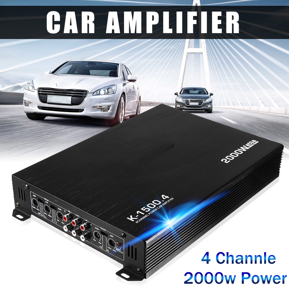 2000W 4 Channel Car Amplifier Speaker Vehicle Auto Audio Amplifier Power Stereo Amp Auto Audio Power Amplifier Player DC 12V black 12v car amplifier high power 1900w audio 4 channel 4 way amplifiers booster auto free shipping dropping