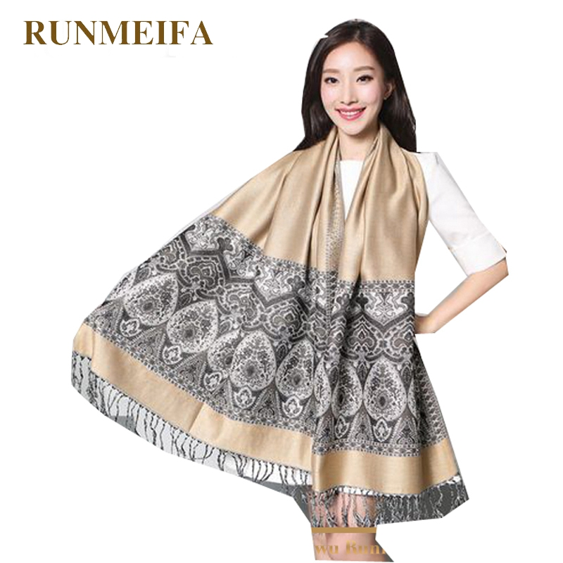 RUNMEIFA Double Side Paisley Shawl Printed Fashion Women Silk Pashmina Scarf Wrap Shawl Free Shipping