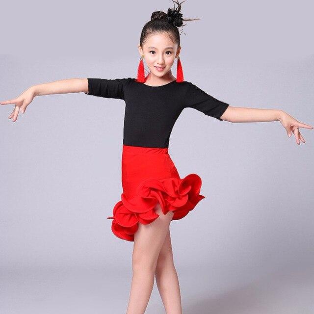 Bambini Sala Da Ballo Latino Salsa Cha Cha Concorso di Danza Costume Set T  Shirt Top a6e10a2780c
