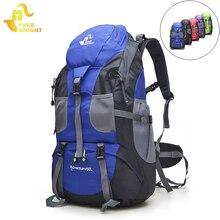 送料騎士バックパック 50L キャンプハイキングバッグ、防水登山観光バックパック、 mochila トレッキングスポーツクライミングバッグ