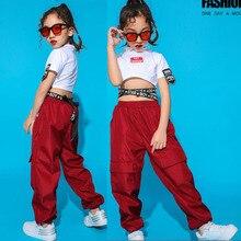 Детские костюмы для джазовых танцев; одежда для Бальных соревнований в стиле хип-хоп; футболка; топы; штаны для бега; детские танцевальные костюмы