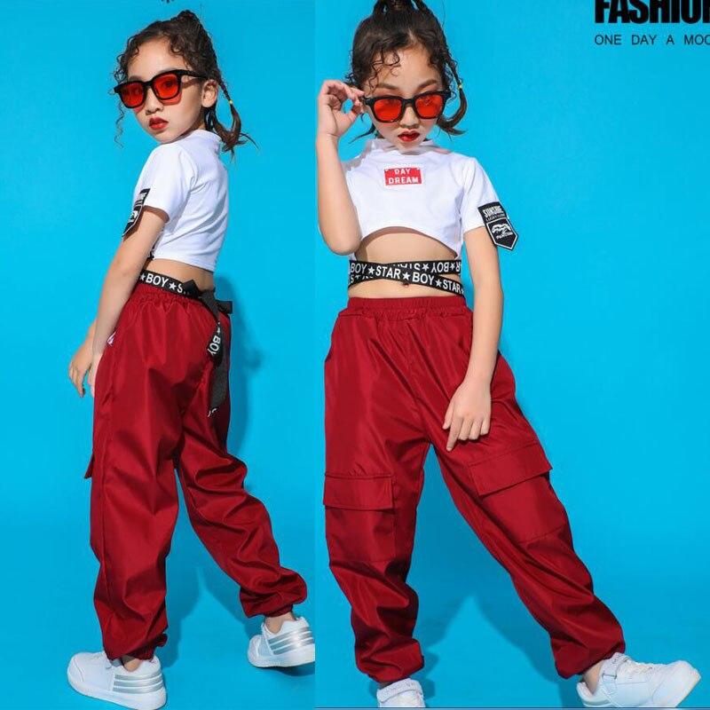 Kids Jazz Dancing Costumes Girls Ballroom Competitions Hip Hop Dance Clothes T Shirt Tops Jogger Pants Children Dance Outfits