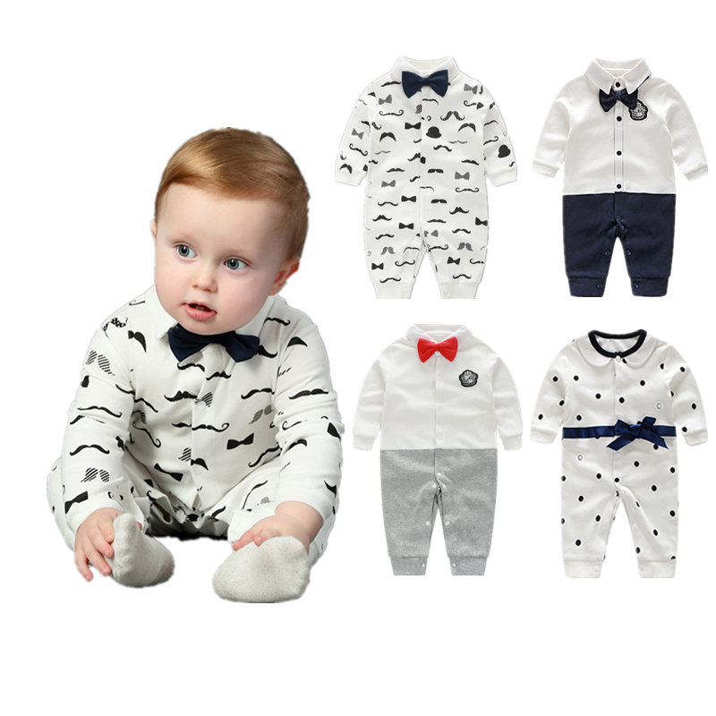 Baby Boy Clothes Bowknot New Born Baby Rompers Cotton Long Sleeve Infant Baby Boy Clothing Set Gentle Style vestido infantil baby rompers clothing new fashion autumn newborn baby boy long sleeve baby set barboteuse clothes gentleman infant pajama