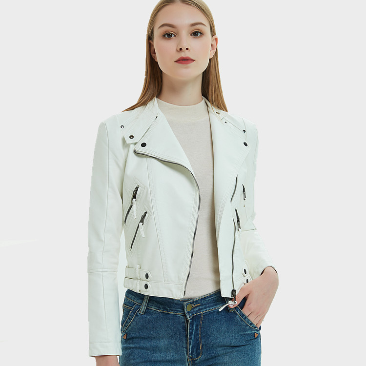 Europe And America Women Solid   Leather   Spring Autumn Long Sleeve Slim Moto Jacket Casacos 2019 New Ladies Pu Fashion Casual Coat