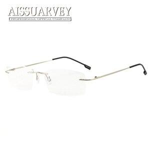 Image 4 - סיטונאי 10 יח\חבילה גברים משקפיים מסגרות ללא שפה משקפיים אופטי מרשם טיטניום סגסוגת אור משקפי עסקי זול