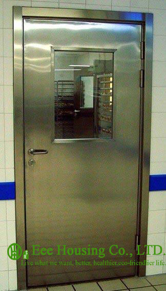 Single-leaf Stainless Steel Fire Resistant Security Glass Door In Satin Finish