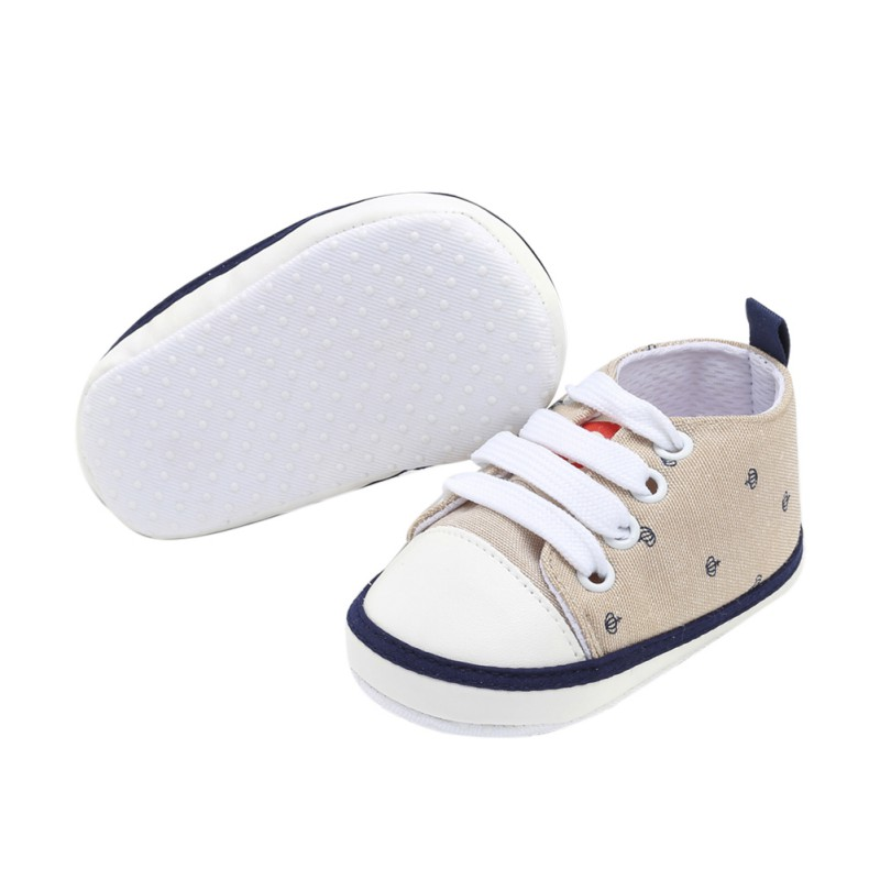 Baby Shoes Baby Toddler Shoes Newborn Infant Classic Sneakers 2018 New Crown Printed Canvas Casual Shoes 0-18M S