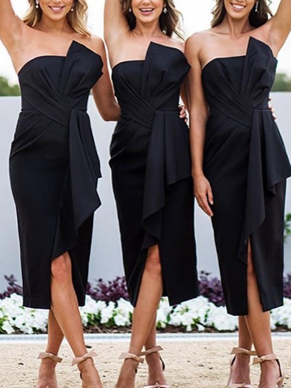 Sexy Sheath Strapless Bridesmaid   Dresses   2019 Spring Gorgeous Satin Bowknot Wedding Guest   Dress   Tea-Length   Cocktail     Dresses
