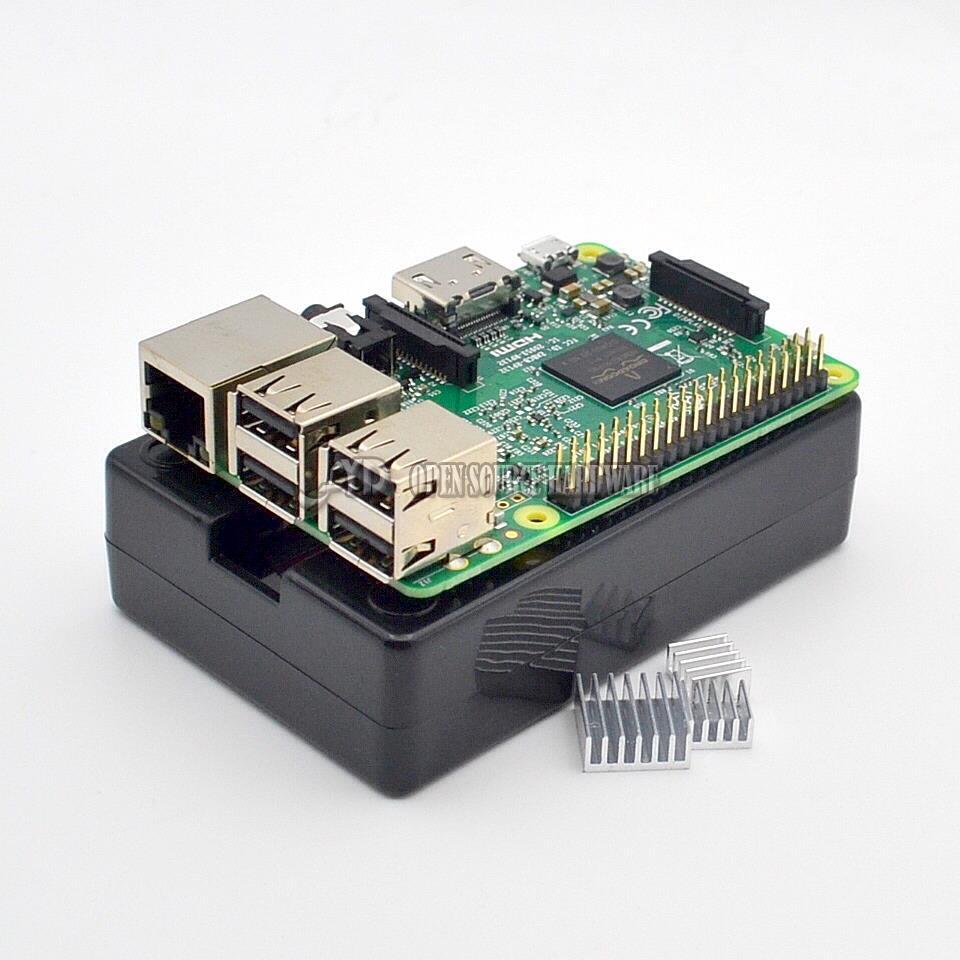 Raspberry Pi 3 Model B font b Board b font black shell Heat sinks 1GB LPDDR2