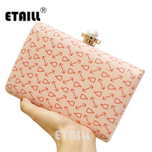 ETAILL New Fashion Printed Box Clutch Bag PVC Hand Bag Women Party Banquet Evening Bag Mini Chain Shoulder Bag Purses Wallet new design gold totes party evening bag fashion womens wallet style chain handbag clutch banquet mini bag sfx a0139