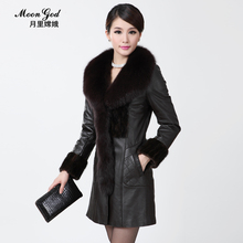 Plus Size 2017 Fight Mink Fox Fur Sheepskin Coat Genuine Leather Medium-Long Plus Cotton Clothing Women's Fur Coat / M-3XL
