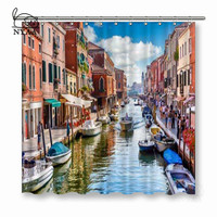 NYAA Island Murano In Venice Italy Shower Curtains View On Canal Waterproof Polyester Fabric Bathroom Curtains For Home Decor