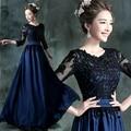 Venta al por mayor Vestido de Noche Largo 2016 Azul con Encaje Negro Bordado 3/4 Banquete de Manga Madre de La Novia Vestidos de Robe De Soiree