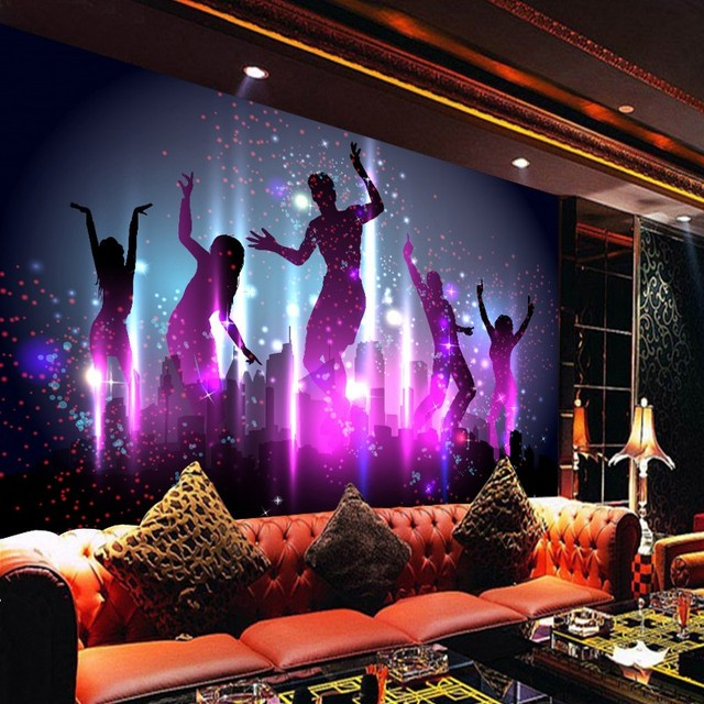 Custom Mural Cool Fashion Carnival Crowd Dancing Party Bar Background Wallpaper High Quality