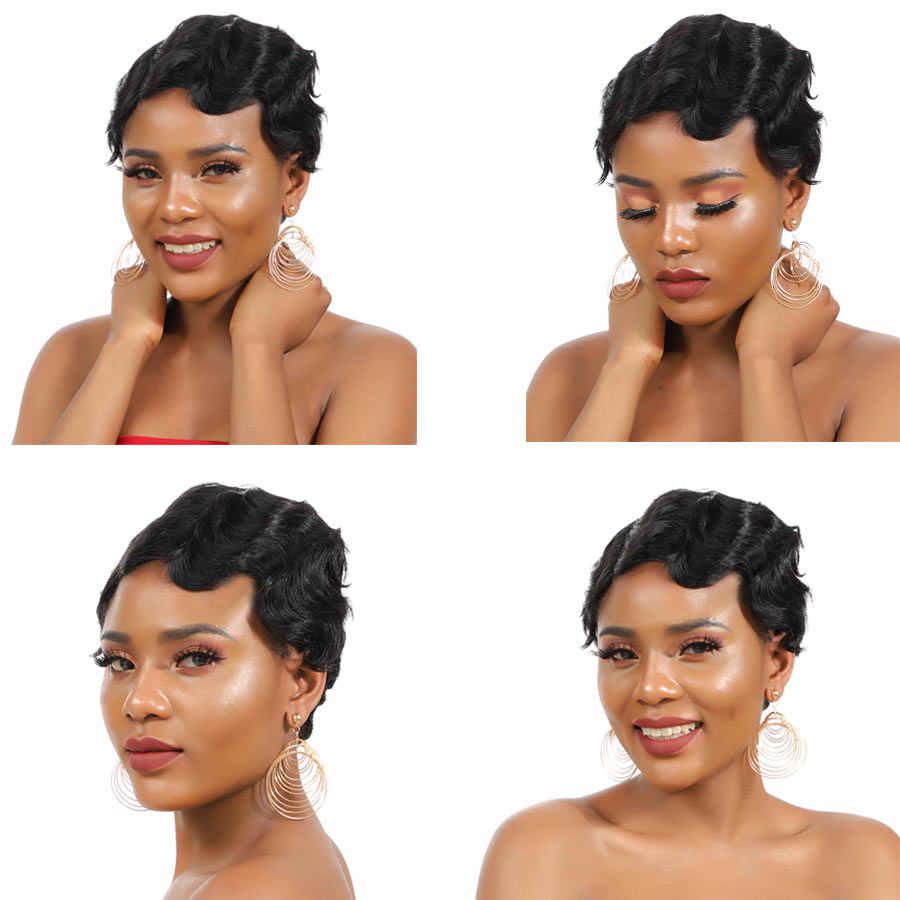 Short Finger Wave Wigs Short Bob Wigs For Woman Short Pixie Cut Wig Peruvian Remy Short Human Hair Wigs Mix Color 27# 99J TIANTA
