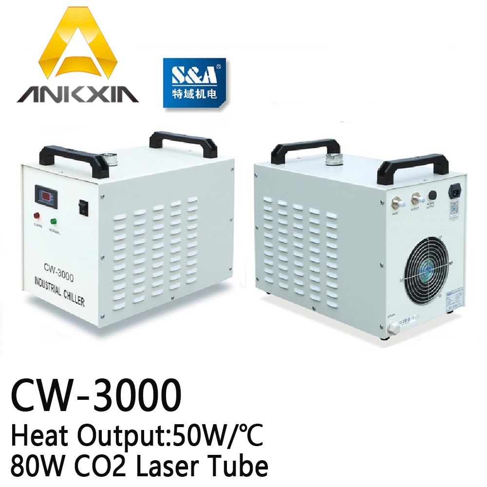 CW-3000 S&A Industrial Water Chiller For 80W 60W Co2 Laser Cutting Engraving Machine cw5000 industry air water chiller for co2 laser engraving cutting machine cooling 80w 100w laser tube